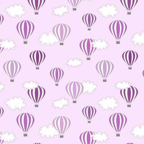 Hot air balloon //purple  fun kids design print ballons sky clouds