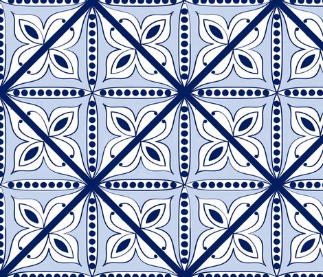 Blue Moroccan Tile fabric by technicolor_bunnies on Spoonflower - custom fabric