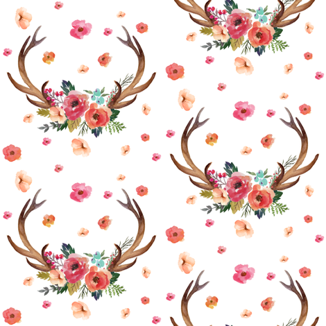 Floral Deer Garden - White fabric by shopcabin on Spoonflower - custom fabric