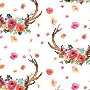 Floral Deer Garden - White