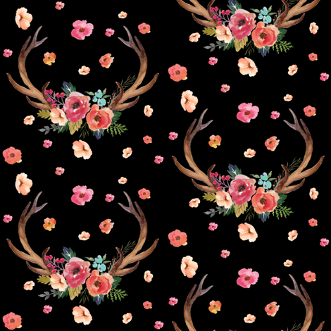 Floral Deer Garden - Black fabric by shopcabin on Spoonflower - custom fabric