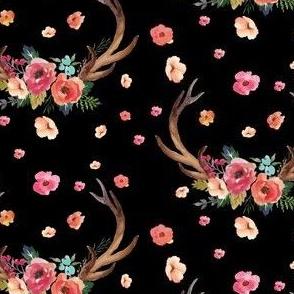Floral Deer Garden - Black