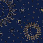 Celestial Zodiac Symbols - Gold/Navy