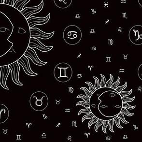 Celestial Zodiac Symbols - Black/White