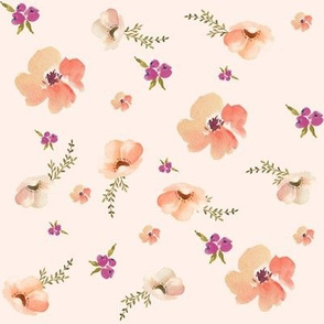 Floral Peach Dreams - Light Pink