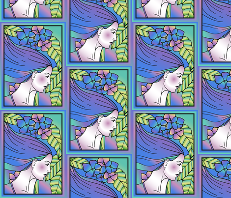 Spring Art Deco Woman Large fabric by gingezel on Spoonflower - custom fabric