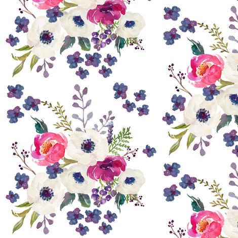 Boho Purple Floral Print White Fabric Shopcabin Spoonflower
