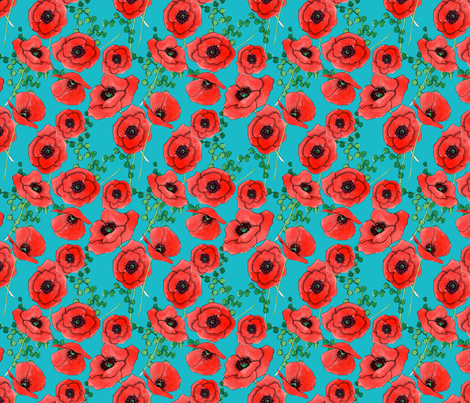 Bright Poppies fabric by washburnart on Spoonflower - custom fabric