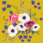 Boho Purple Floral Print -  Mustard Color