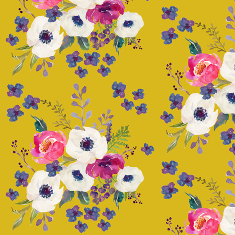 "5.25"" Boho Purple Floral Print - Mustard Color"