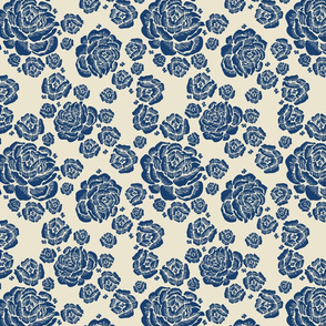 double roses - blue/cream