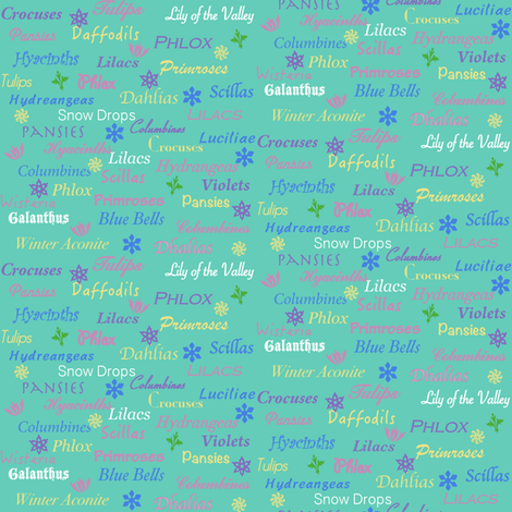 Names Of Spring Flowers Wallpaper Gingezel Spoonflower