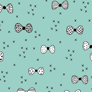 Sweet geometric bow tie hipster illustration cool great gatsy print black and white mint