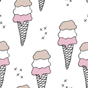 Sweet scandinavian summer ice cream cones in black and white and soft pink pastels LARGE