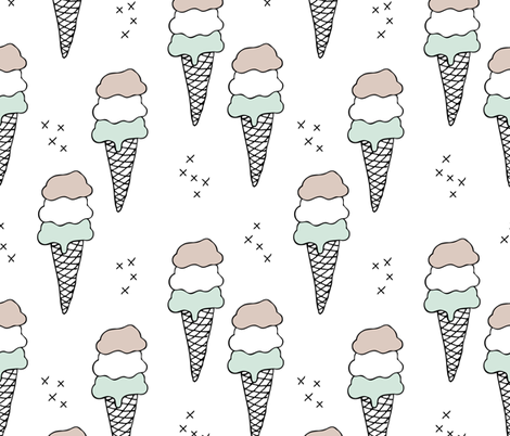 Sweet scandinavian summer ice cream cones in black and white and soft mint pastels fabric by littlesmilemakers on Spoonflower - custom fabric