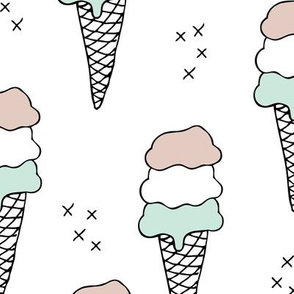 Sweet scandinavian summer ice cream cones in black and white and soft mint pastels