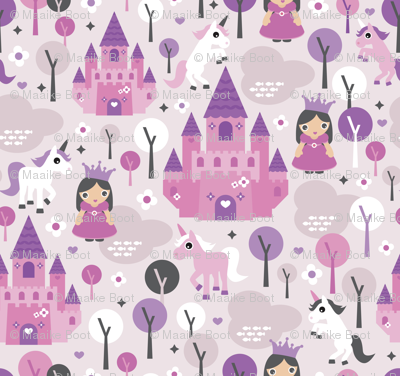 Princess unicorn and fairy land castle magical print for girls