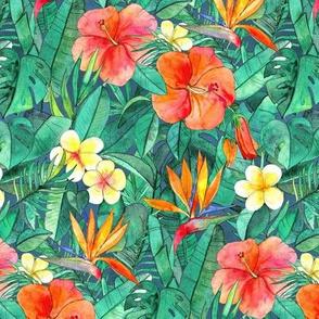 Classic Tropical Garden in watercolors