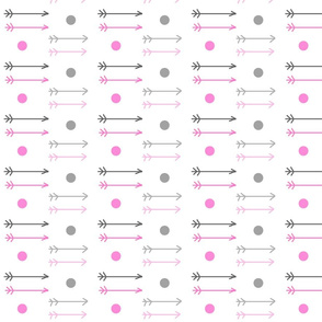 little arrows ombre dots - gray hot pink