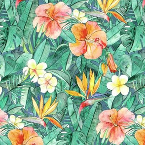 Classic Tropical Garden in watercolors - faded vintage version