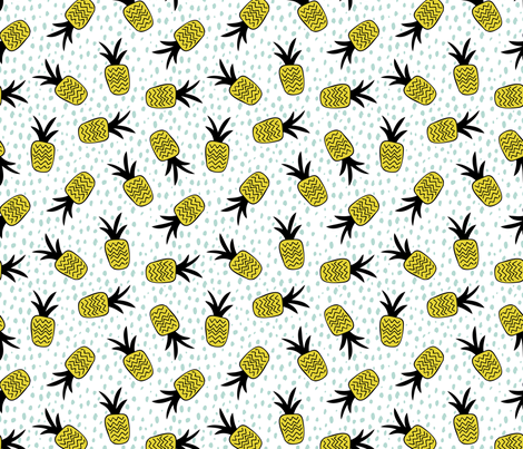 Summer pineapples memphis style pop triangle yellow mint fabric by littlesmilemakers on Spoonflower - custom fabric