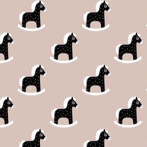 Sweet baby rocking horse kids print scandinavian style black and white beige