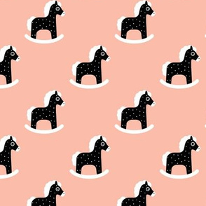 Sweet baby rocking horse kids print scandinavian style black and white coral pink