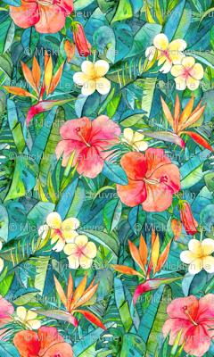 Classic Tropical Garden in watercolors 2