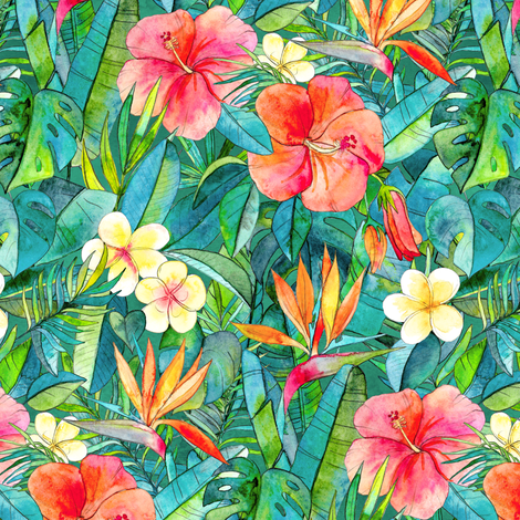 Classic Tropical Garden in watercolors 2 fabric by micklyn on Spoonflower - custom fabric