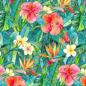 Classic Tropical Garden in watercolors 2