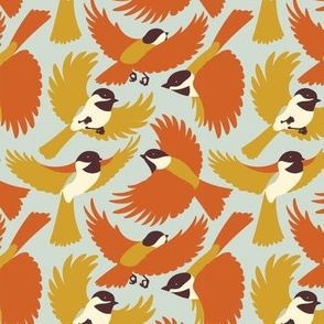 Chickadees in Orange