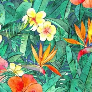 Classic Tropical Garden in watercolors large print