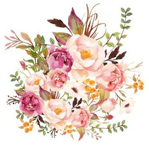 Boho Vintage Floral Pastel - White