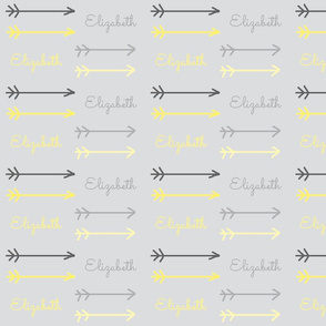 little arrows gray ombre - personalized gray yellow