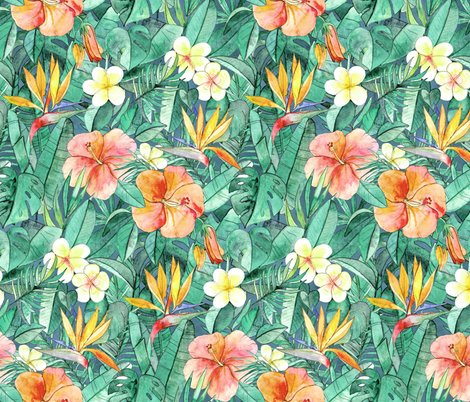 Classic Tropical Garden In Watercolors Faded Vintage