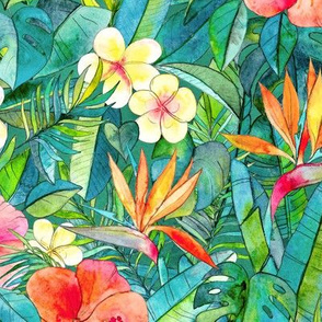 Classic Tropical Garden in watercolors 2 large print