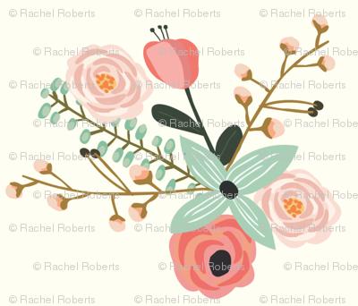 Summer Floral Ivory - Mint Floral - Flowers