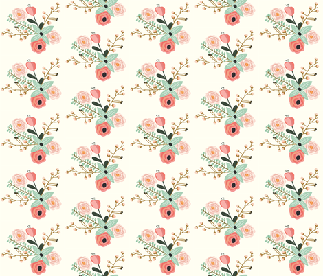 Summer Floral Ivory - Mint Floral - Flowers fabric by modfox on Spoonflower - custom fabric