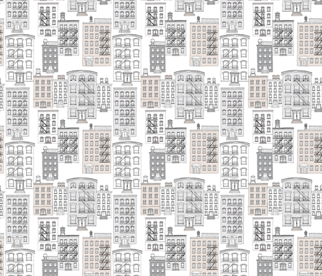New York City Apartment brownstone and water tank architecture  scandinavian style fabric by littlesmilemakers on Spoonflower - custom fabric