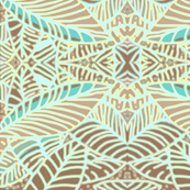 Abstract Leaves Coffee Teal  Mirror 300
