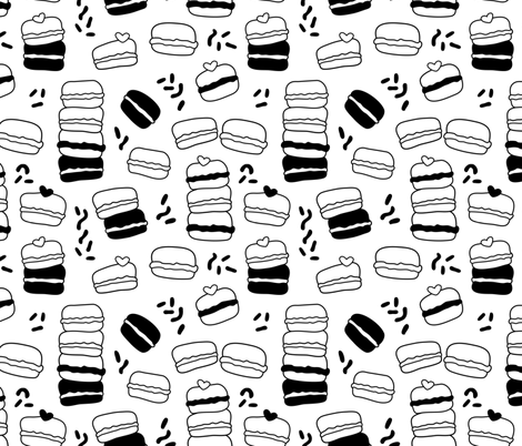 Cool trendy candy macaron macaroon design memphis style black and white fabric by littlesmilemakers on Spoonflower - custom fabric