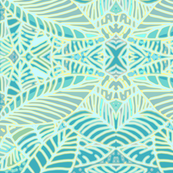 Abstract Leaves Teal and Green Mirror