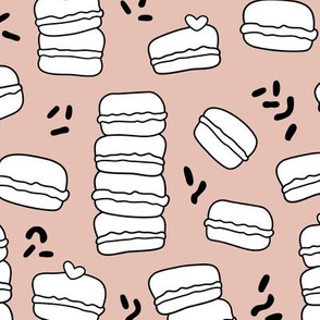 Cool trendy candy macaron macaroon design memphis style black and white beige