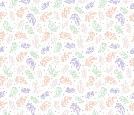 Tropical summer palm leaves geometric triangles and sweet pastels  fabric by littlesmilemakers on Spoonflower - custom fabric