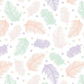 Tropical summer palm leaves geometric triangles and sweet pastels