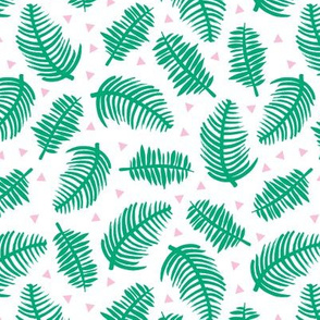 Tropical summer palm leaves geometric triangles green pink