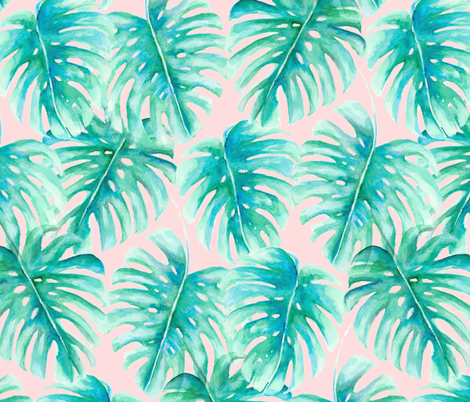 Paradise Palms Blush Large Scale fabric by mjmstudio on Spoonflower - custom fabric