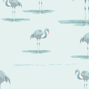 seafoam green flamingos