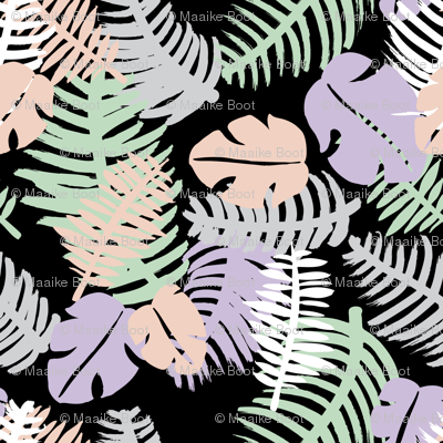Tropical summer  monstera  leaf geometric pastel beach print black lush green