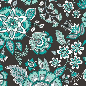 Floral Brocade Garden  in Green Mint